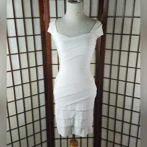 Instantly slimming BODY-CON Tiered DRESS